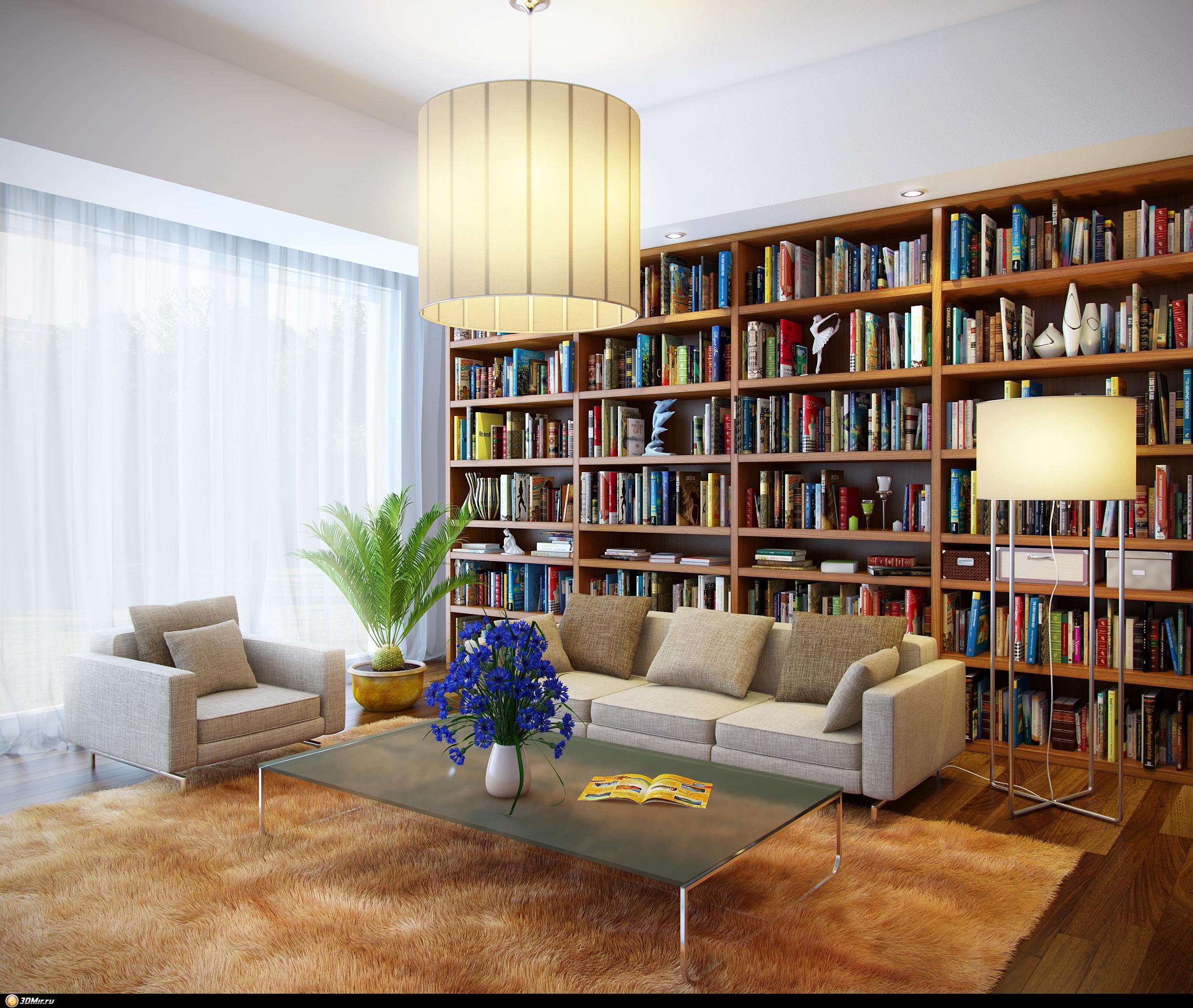 Готовая 3d сцена интерьера гостиной в современном стиле.
