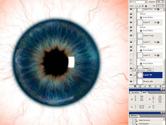 Как сделать радужку глаза красной